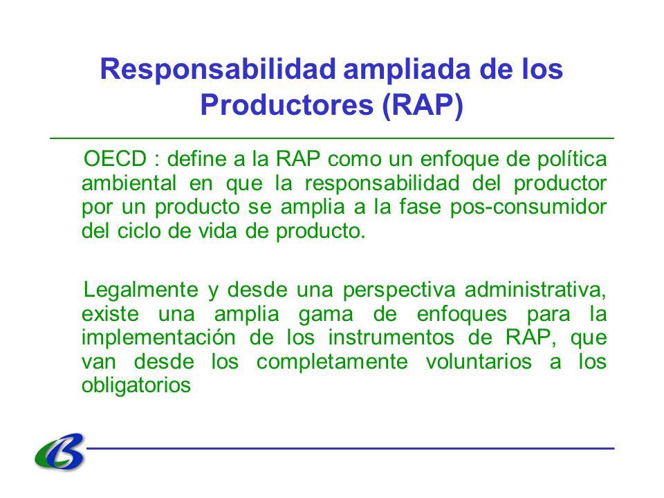 Responsabilidad ampliada de los Productores (RAP) OECD : define a la RAP como un enfoque de política ambiental en que la responsabilidad del productor por un producto se amplia a la fase pos-consumidor del ciclo de vida de producto.
