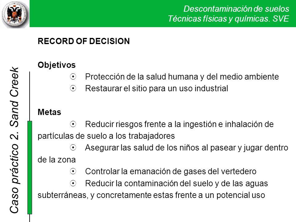 Descontaminación de suelos Técnicas físicas y químicas. SVE Caso práctico 2. Sand Creek RECORD OF DECISION Objetivos Protección de la salud humana y d