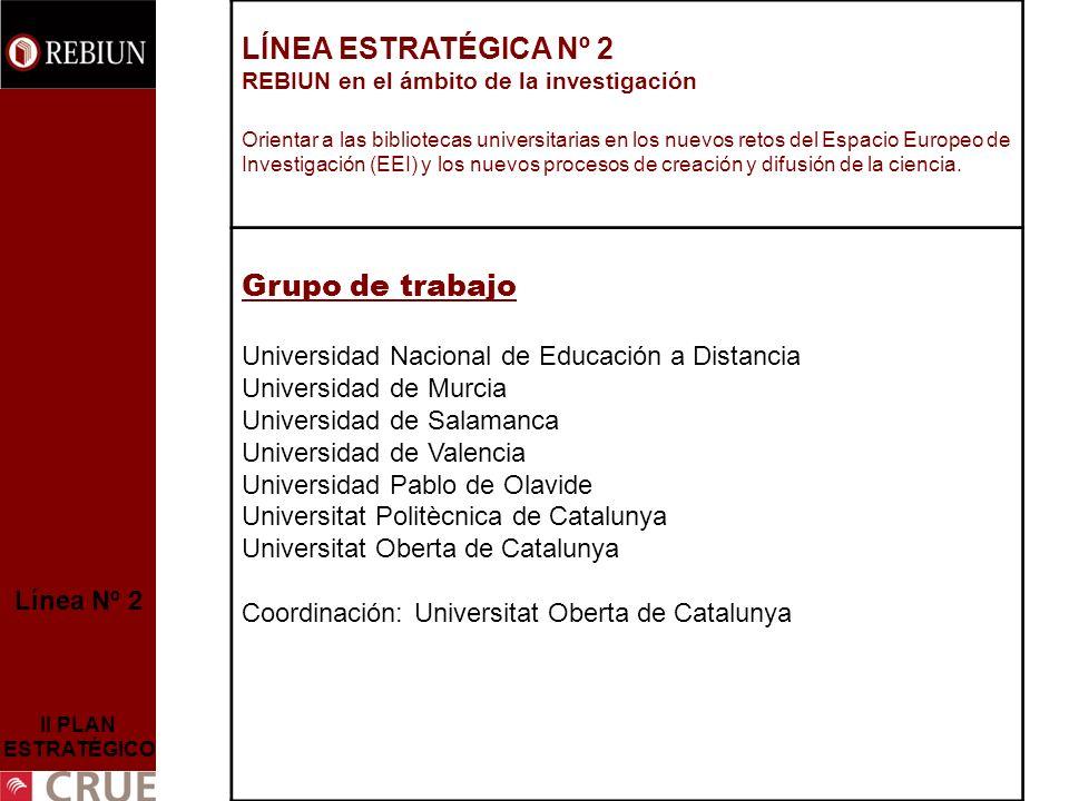 Línea Nº 2 II PLAN ESTRATÉGICO LÍNEA ESTRATÉGICA Nº 2 REBIUN en el ámbito de la investigación Orientar a las bibliotecas universitarias en los nuevos retos del Espacio Europeo de Investigación (EEI) y los nuevos procesos de creación y difusión de la ciencia.