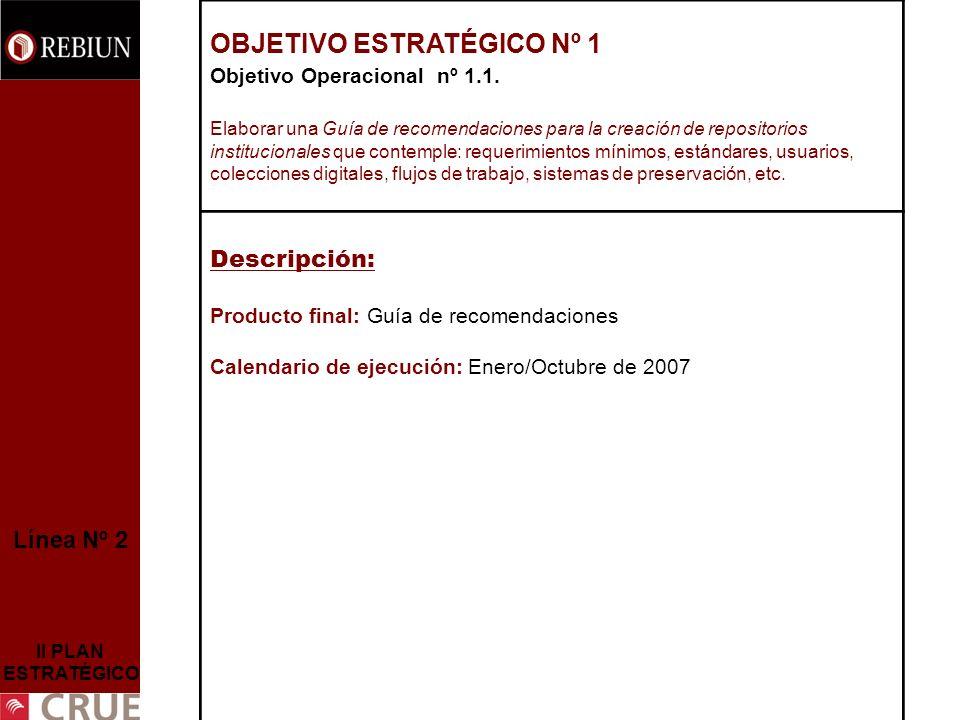 Línea Nº 2 II PLAN ESTRATÉGICO OBJETIVO ESTRATÉGICO Nº 1 Objetivo Operacional nº 1.1.