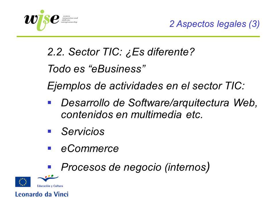 2.2. Sector TIC: ¿Es diferente? Todo es eBusiness Ejemplos de actividades en el sector TIC: Desarrollo de Software/arquitectura Web, contenidos en mul