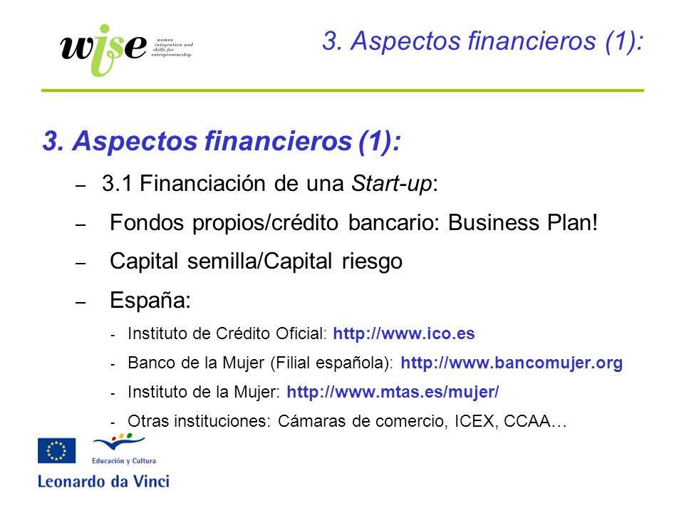 3. Aspectos financieros (1): – 3.1 Financiación de una Start-up: – Fondos propios/crédito bancario: Business Plan! – Capital semilla/Capital riesgo –