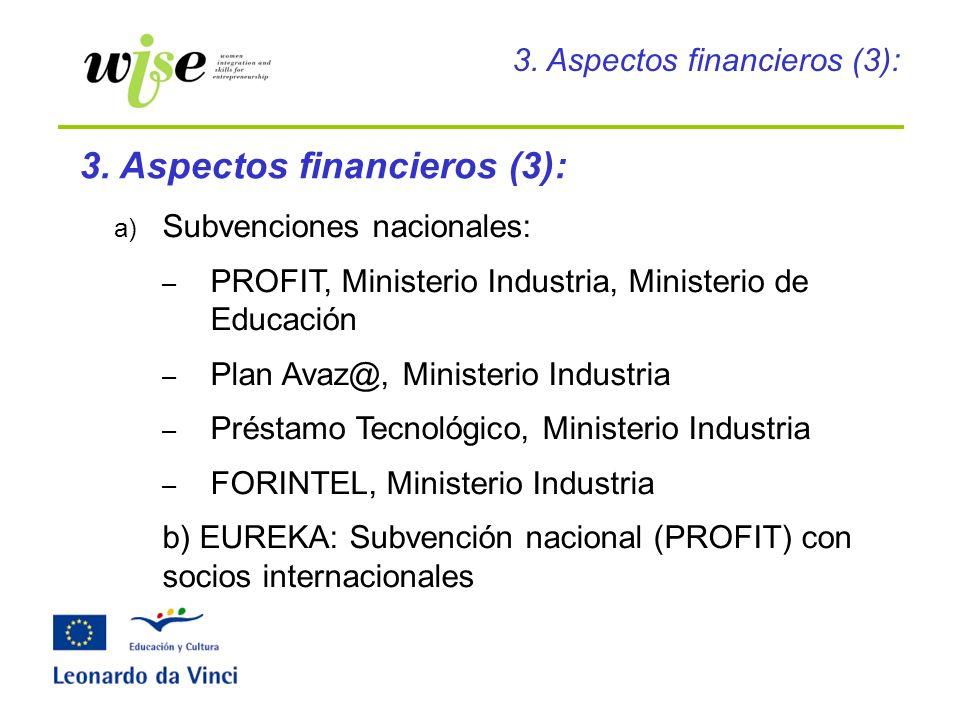 a) Subvenciones nacionales: – PROFIT, Ministerio Industria, Ministerio de Educación – Plan Avaz@, Ministerio Industria – Préstamo Tecnológico, Ministe