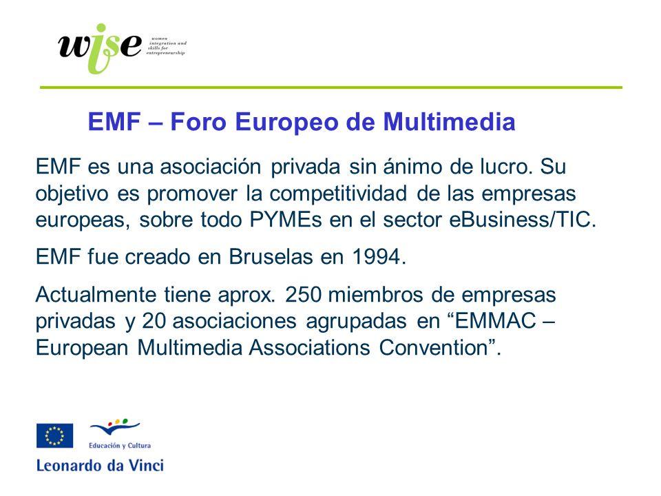 EMF – Foro Europeo de Multimedia EMF es una asociación privada sin ánimo de lucro. Su objetivo es promover la competitividad de las empresas europeas,
