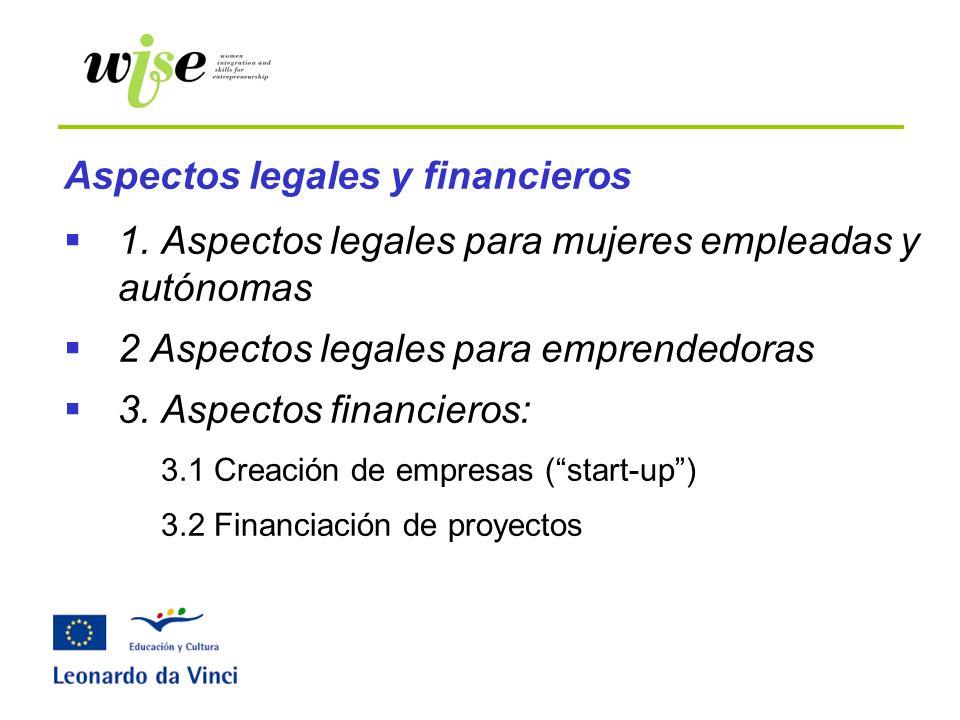 Aspectos legales y financieros 1. Aspectos legales para mujeres empleadas y autónomas 2 Aspectos legales para emprendedoras 3. Aspectos financieros: 3
