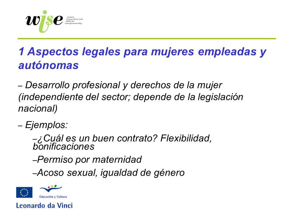 – Desarrollo profesional y derechos de la mujer (independiente del sector; depende de la legislación nacional) – Ejemplos: – ¿Cuál es un buen contrato