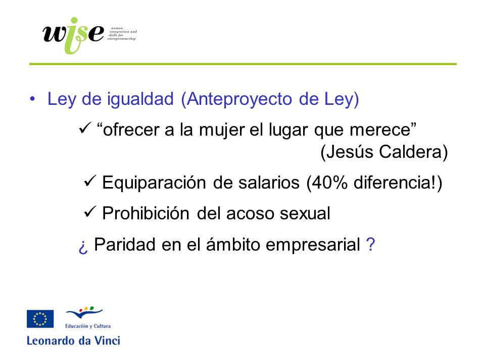 Ley de igualdad (Anteproyecto de Ley) ofrecer a la mujer el lugar que merece (Jesús Caldera) Equiparación de salarios (40% diferencia!) Prohibición de