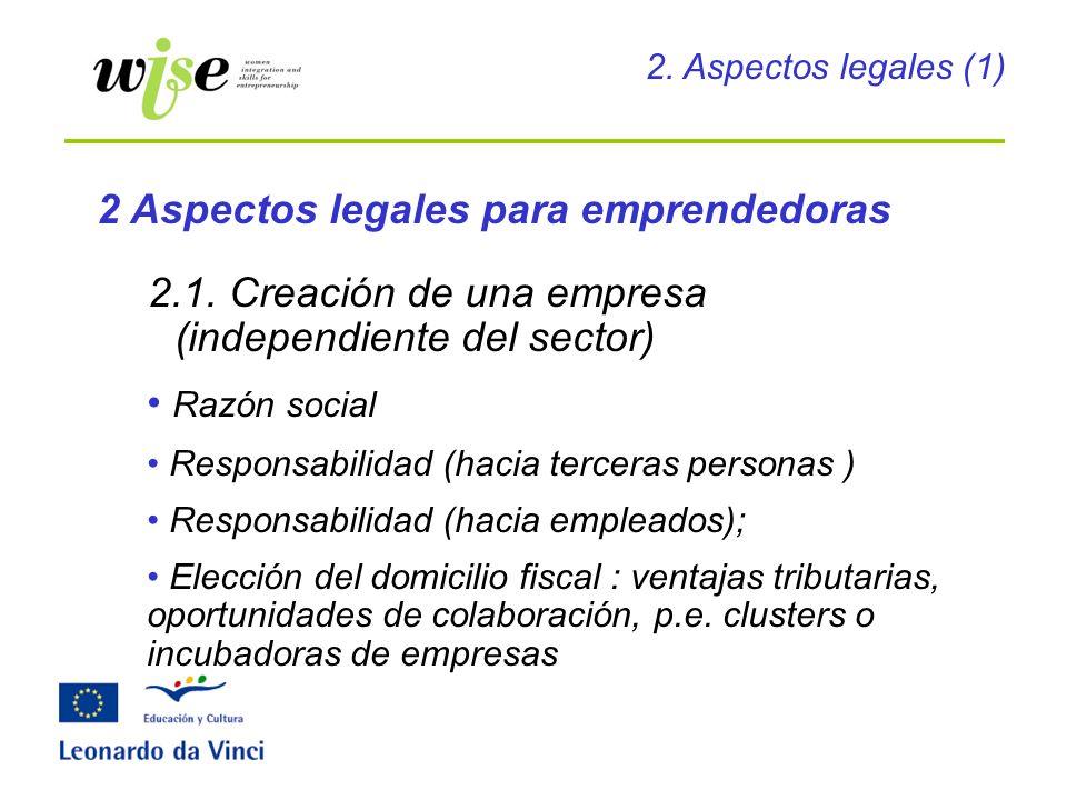 2.1. Creación de una empresa (independiente del sector) Razón social Responsabilidad (hacia terceras personas ) Responsabilidad (hacia empleados); Ele
