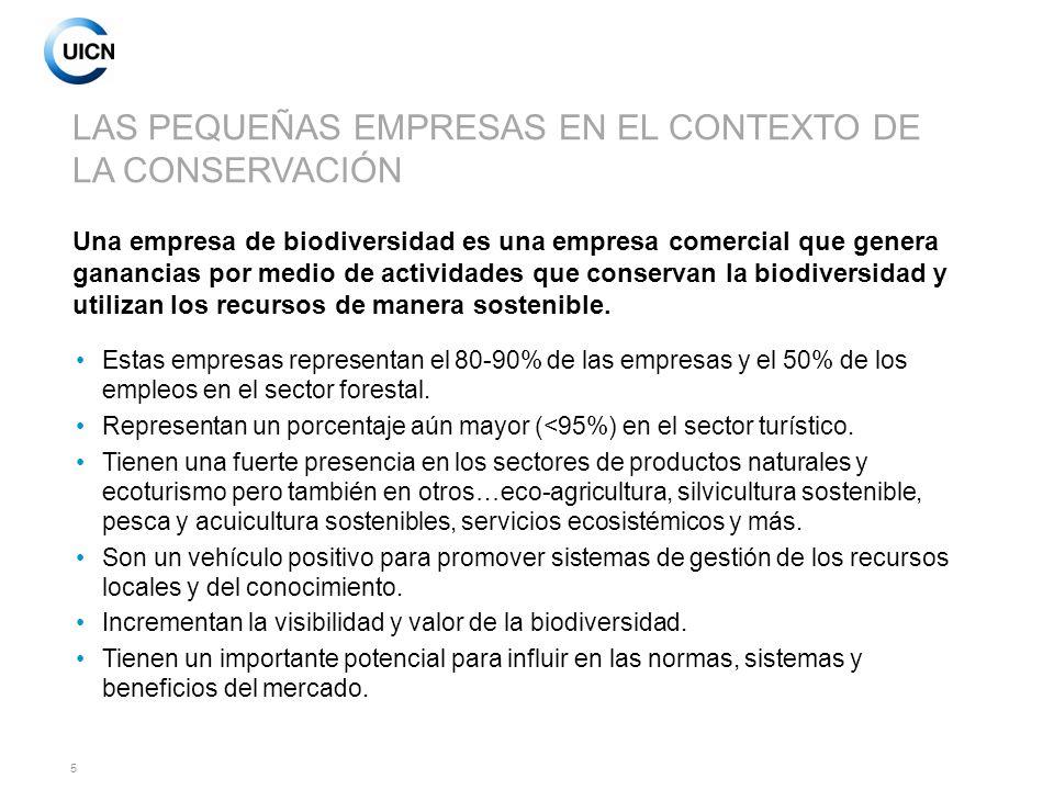 6 LA OPORTUNIDAD ECONÓMICA La conservación de la biodiversidad y la salud de los ecosistemas pueden contribuir directamente a la rentabilidad de la empresa (ej., ecoturismo, pagos por protección de cuencas hidrográficas).