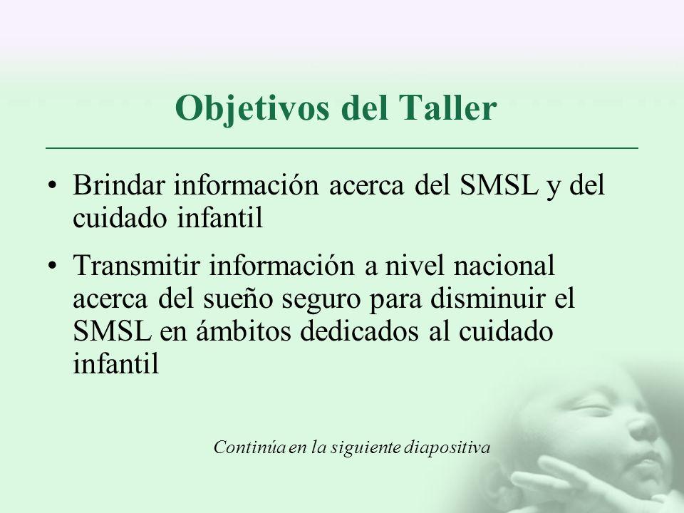 Objetivos del Taller Brindar información acerca del SMSL y del cuidado infantil Transmitir información a nivel nacional acerca del sueño seguro para d