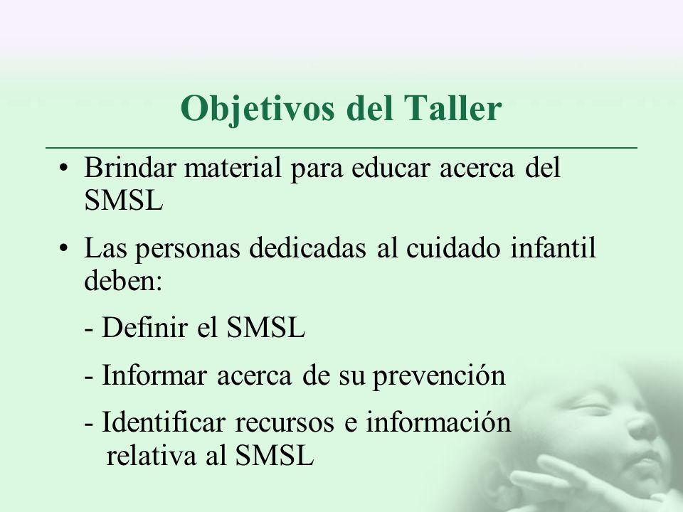 Objetivos del Taller Brindar material para educar acerca del SMSL Las personas dedicadas al cuidado infantil deben: - Definir el SMSL - Informar acerc