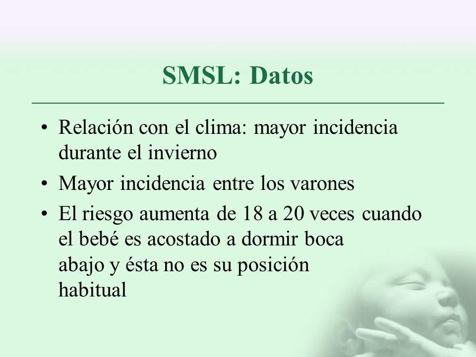 SMSL: Datos Relación con el clima: mayor incidencia durante el invierno Mayor incidencia entre los varones El riesgo aumenta de 18 a 20 veces cuando e