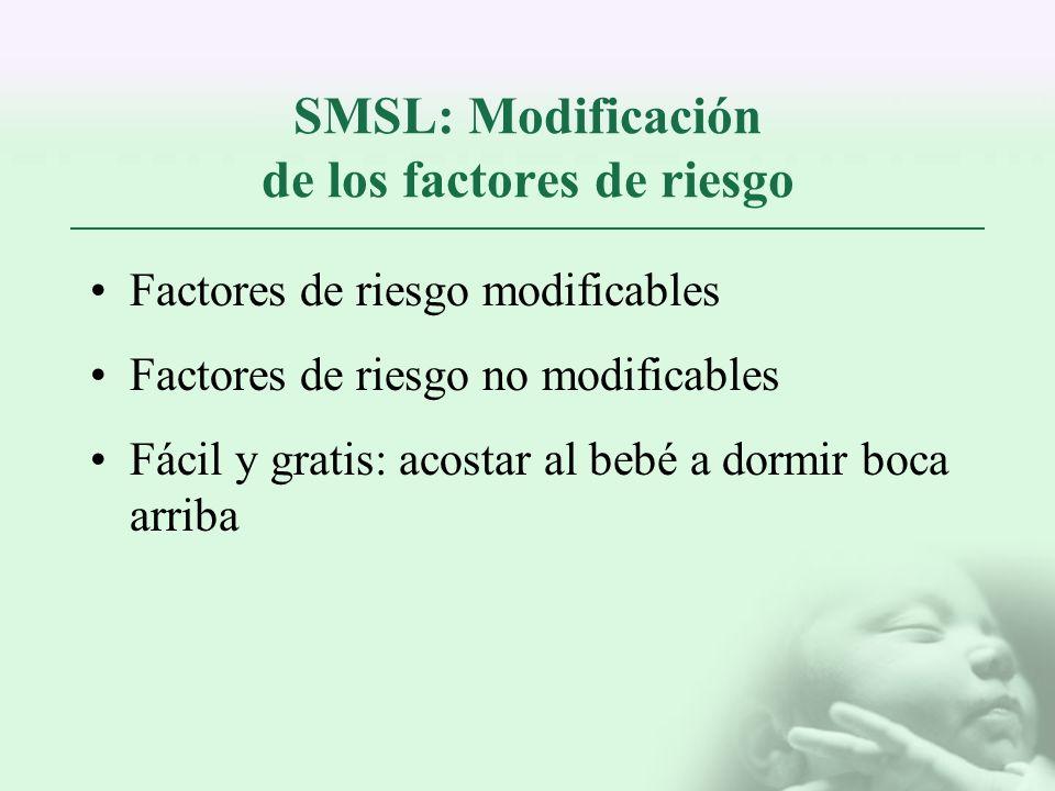 SMSL: Modificación de los factores de riesgo Factores de riesgo modificables Factores de riesgo no modificables Fácil y gratis: acostar al bebé a dorm
