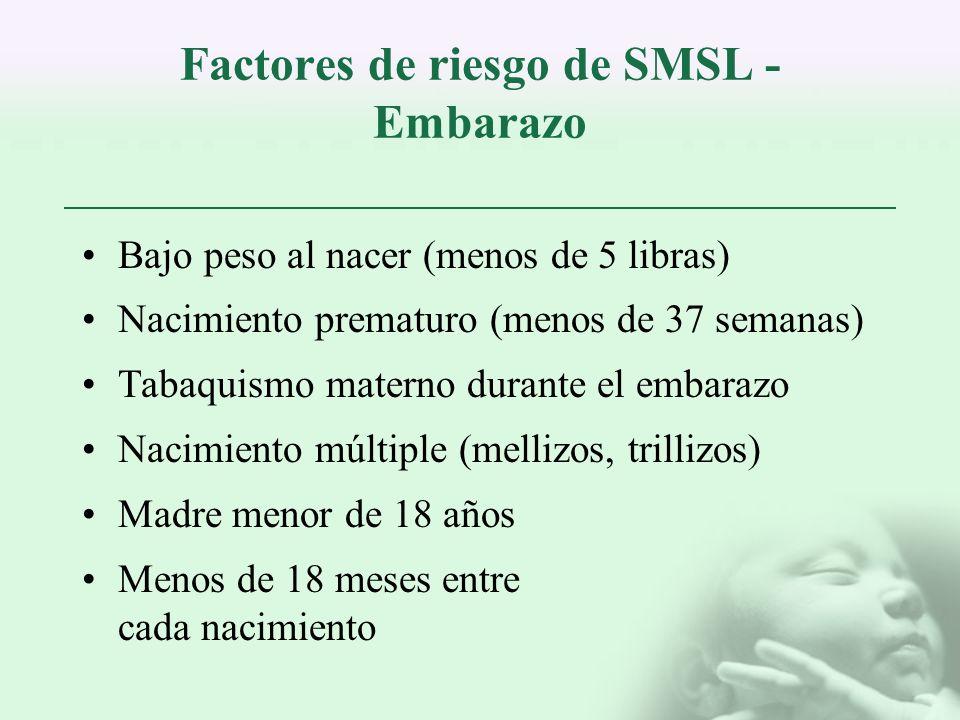 Factores de riesgo de SMSL - Embarazo Bajo peso al nacer (menos de 5 libras) Nacimiento prematuro (menos de 37 semanas) Tabaquismo materno durante el