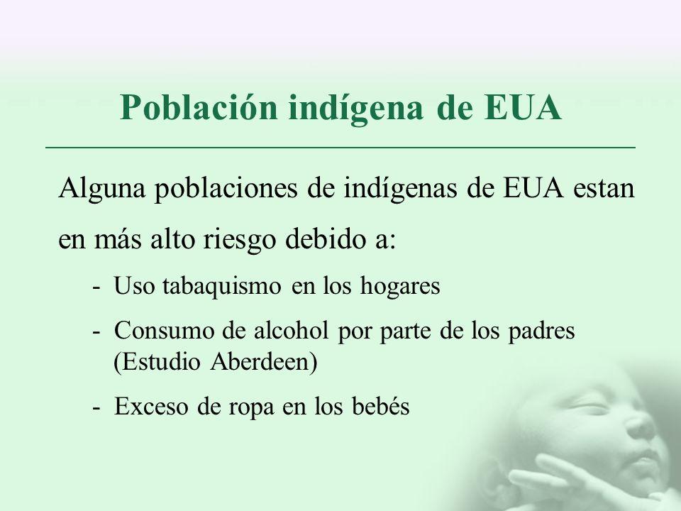 Población indígena de EUA Alguna poblaciones de indígenas de EUA estan en más alto riesgo debido a: -Uso tabaquismo en los hogares - Consumo de alcoho