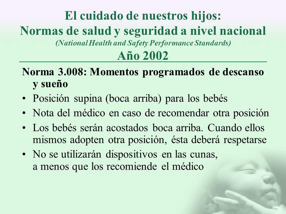 El cuidado de nuestros hijos: Normas de salud y seguridad a nivel nacional (National Health and Safety Performance Standards) Año 2002 Norma 3.008: Mo