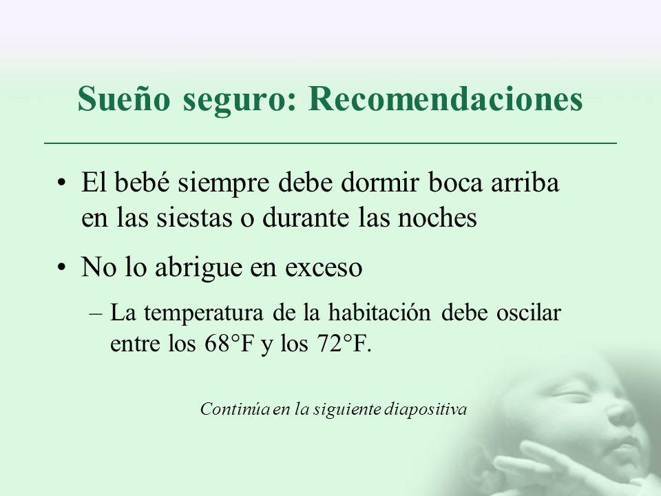 Sueño seguro: Recomendaciones El bebé siempre debe dormir boca arriba en las siestas o durante las noches No lo abrigue en exceso –La temperatura de l