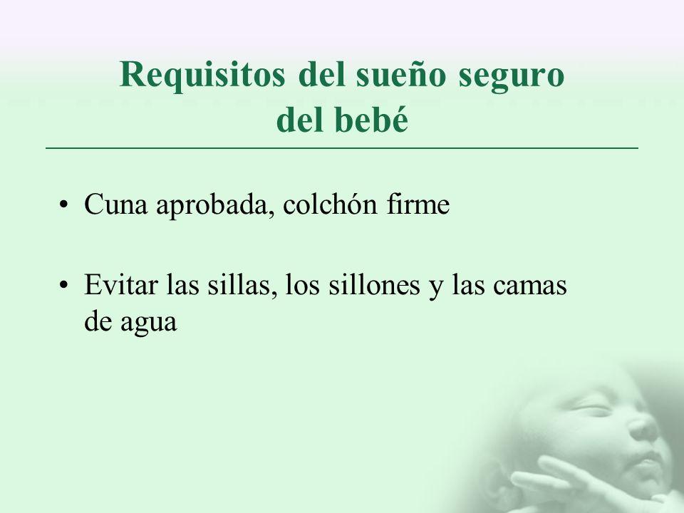 Requisitos del sueño seguro del bebé Cuna aprobada, colchón firme Evitar las sillas, los sillones y las camas de agua