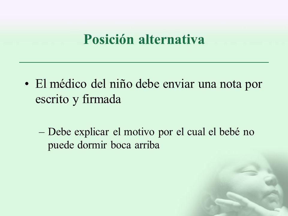 Posición alternativa El médico del niño debe enviar una nota por escrito y firmada –Debe explicar el motivo por el cual el bebé no puede dormir boca a