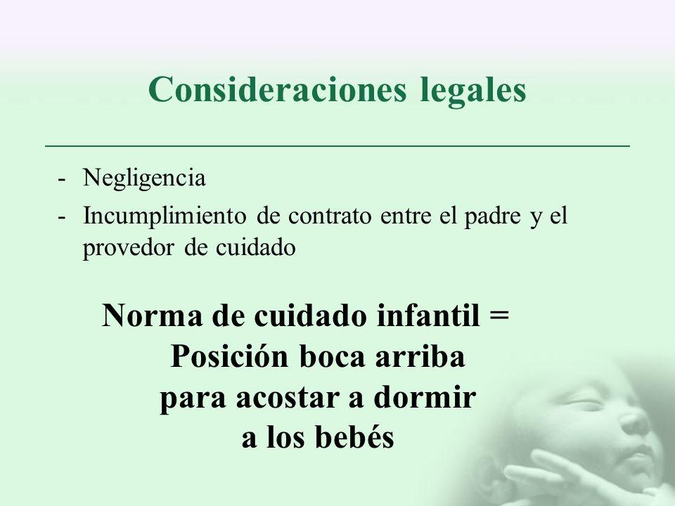 Consideraciones legales -Negligencia -Incumplimiento de contrato entre el padre y el provedor de cuidado Norma de cuidado infantil = Posición boca arr