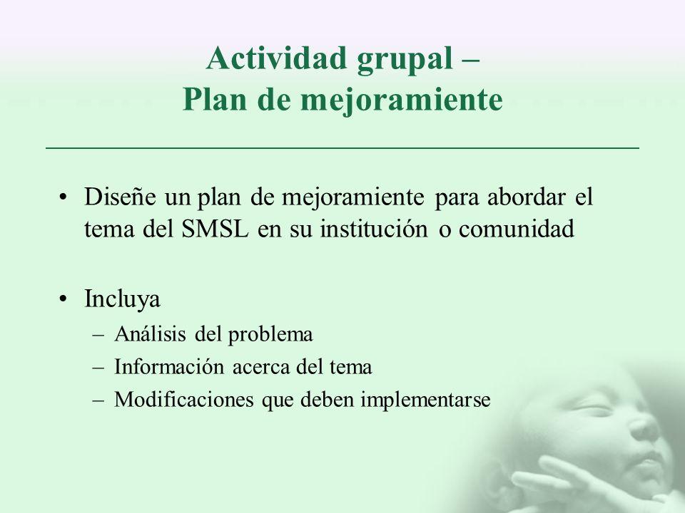 Actividad grupal – Plan de mejoramiente Diseñe un plan de mejoramiente para abordar el tema del SMSL en su institución o comunidad Incluya –Análisis d