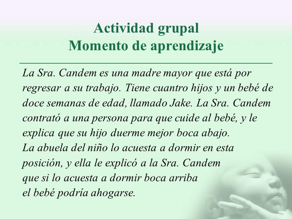 Actividad grupal Momento de aprendizaje La Sra. Candem es una madre mayor que está por regresar a su trabajo. Tiene cuantro hijos y un bebé de doce se