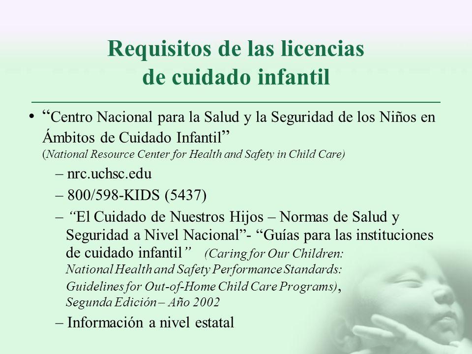 Requisitos de las licencias de cuidado infantil Centro Nacional para la Salud y la Seguridad de los Niños en Ámbitos de Cuidado Infantil (National Res