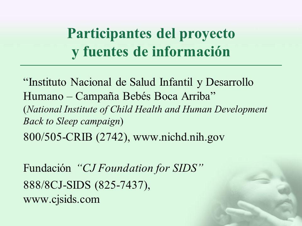 Participantes del proyecto y fuentes de información Instituto Nacional de Salud Infantil y Desarrollo Humano – Campaña Bebés Boca Arriba (National Ins
