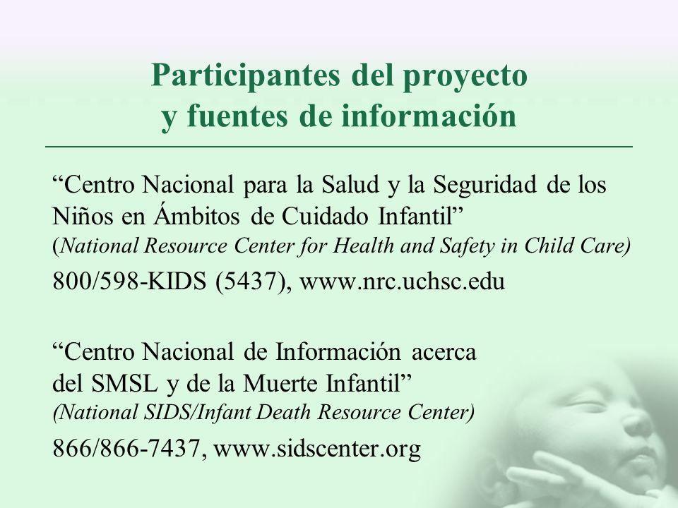 Participantes del proyecto y fuentes de información Centro Nacional para la Salud y la Seguridad de los Niños en Ámbitos de Cuidado Infantil (National