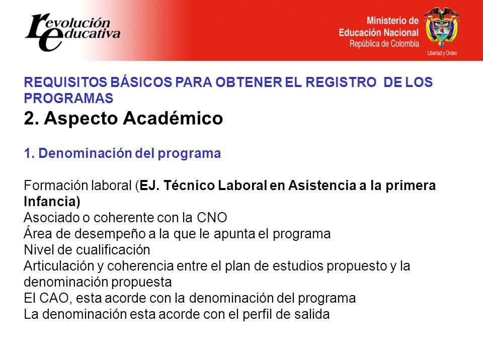 Ministerio de Educación Nacional República de Colombia REQUISITOS BÁSICOS PARA OBTENER EL REGISTRO DE LOS PROGRAMAS 2. Aspecto Académico 1. Denominaci