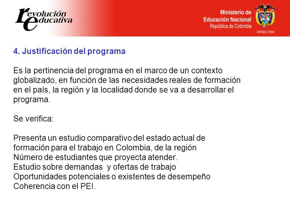 Ministerio de Educación Nacional República de Colombia 4. Justificación del programa Es la pertinencia del programa en el marco de un contexto globali