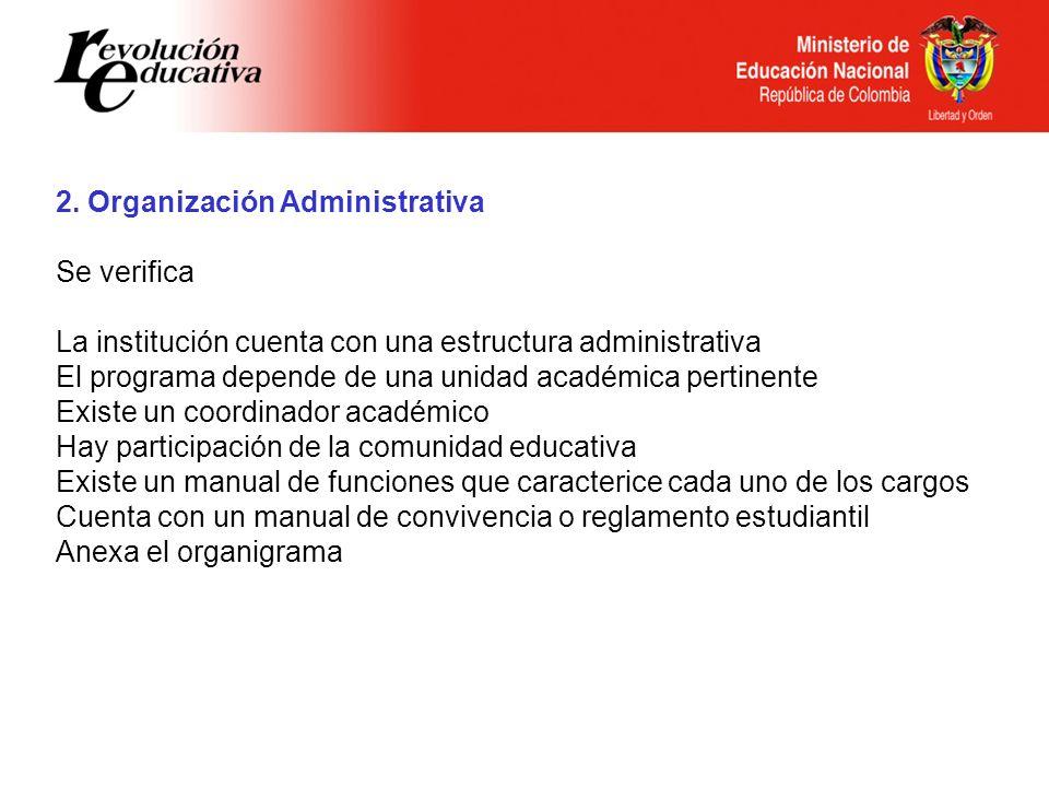 Ministerio de Educación Nacional República de Colombia 2. Organización Administrativa Se verifica La institución cuenta con una estructura administrat