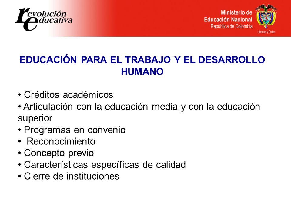 Ministerio de Educación Nacional República de Colombia EDUCACIÓN PARA EL TRABAJO Y EL DESARROLLO HUMANO Créditos académicos Articulación con la educac