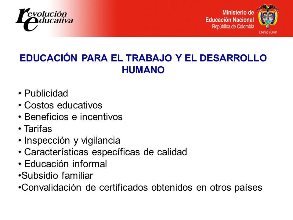 Ministerio de Educación Nacional República de Colombia EDUCACIÓN PARA EL TRABAJO Y EL DESARROLLO HUMANO Publicidad Costos educativos Beneficios e ince