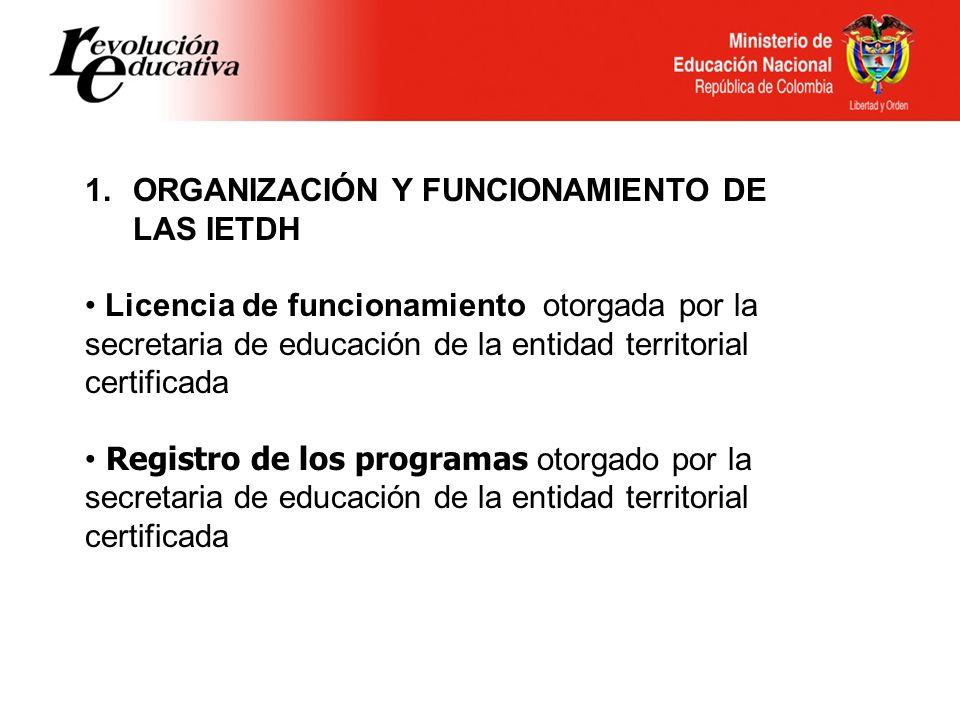 Ministerio de Educación Nacional República de Colombia 1.ORGANIZACIÓN Y FUNCIONAMIENTO DE LAS IETDH Licencia de funcionamiento otorgada por la secreta
