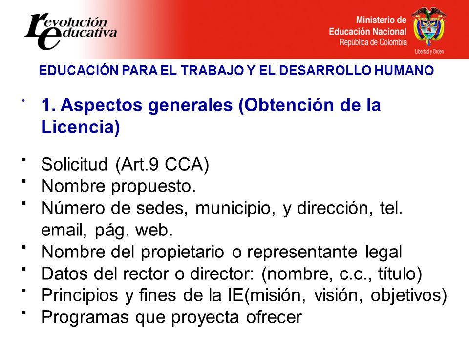Ministerio de Educación Nacional República de Colombia EDUCACIÓN PARA EL TRABAJO Y EL DESARROLLO HUMANO 1. Aspectos generales (Obtención de la Licenci