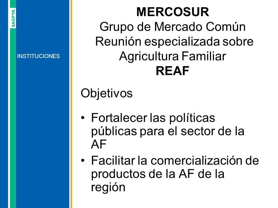 Objetivos Fortalecer las políticas públicas para el sector de la AF Facilitar la comercialización de productos de la AF de la región INSTITUCIONES MER