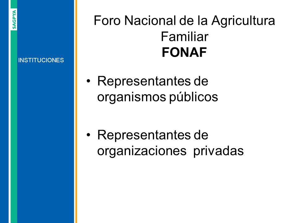 Representantes de organismos públicos Representantes de organizaciones privadas INSTITUCIONES Foro Nacional de la Agricultura Familiar FONAF