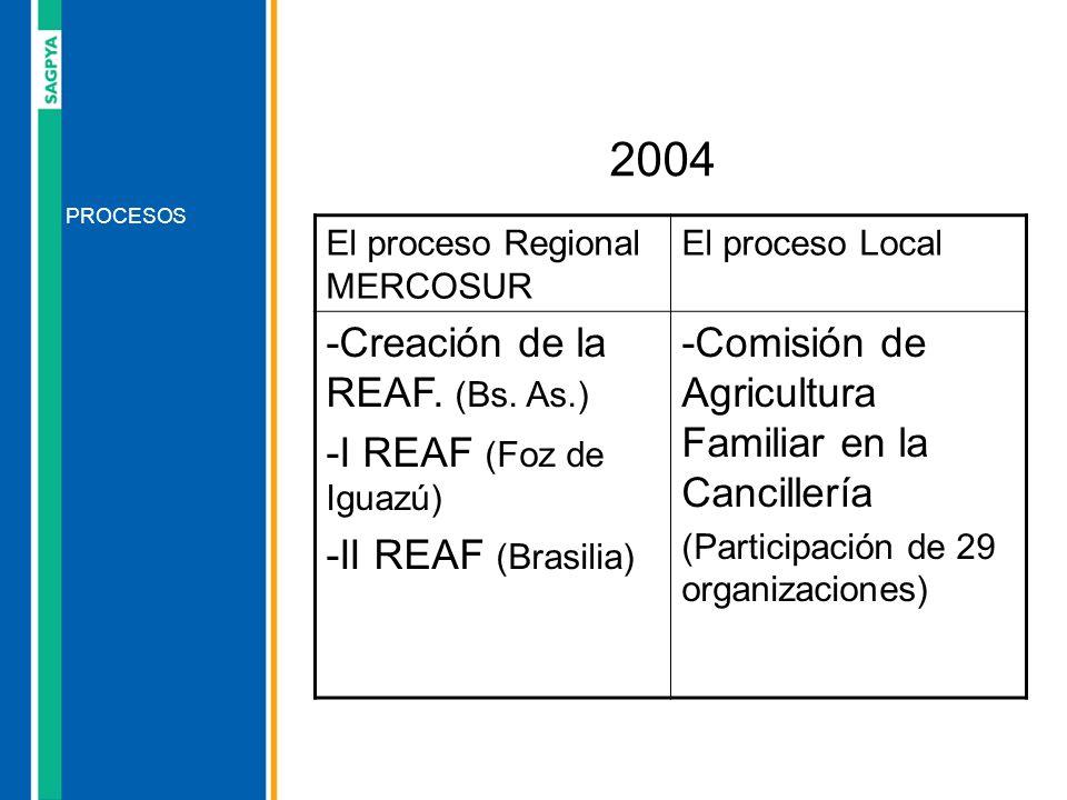 PROCESOS 2004 El proceso Regional MERCOSUR El proceso Local -Creación de la REAF. (Bs. As.) -I REAF (Foz de Iguazú) -II REAF (Brasilia) -Comisión de A