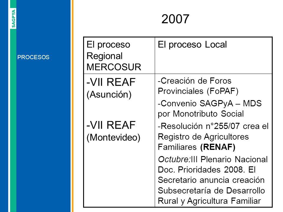 PROCESOS 2007 El proceso Regional MERCOSUR El proceso Local -VII REAF (Asunción) -VII REAF (Montevideo) -Creación de Foros Provinciales (FoPAF) -Conve