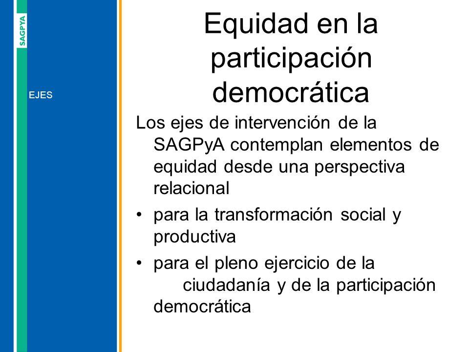 Los ejes de intervención de la SAGPyA contemplan elementos de equidad desde una perspectiva relacional para la transformación social y productiva para