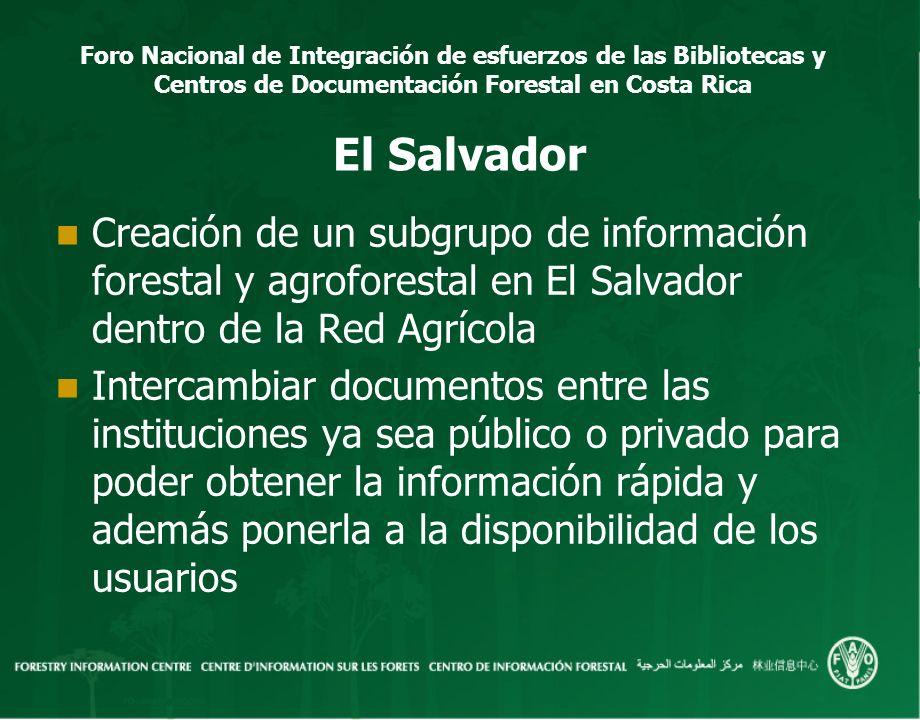 Foro Nacional de Integración de esfuerzos de las Bibliotecas y Centros de Documentación Forestal en Costa Rica El Salvador Creación de un subgrupo de