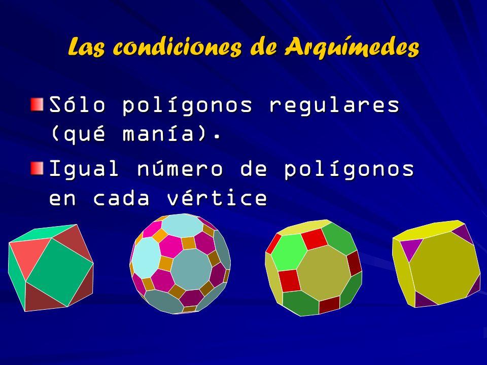 Las condiciones de Arquímedes Sólo polígonos regulares (qué manía). Igual número de polígonos en cada vértice