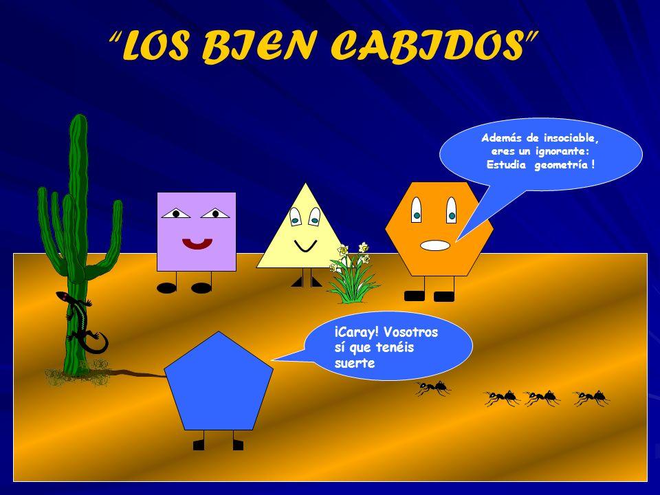 ¡Caray! Vosotros sí que tenéis suerte Además de insociable, eres un ignorante: Estudia geometría ! LOS BIEN CABIDOS