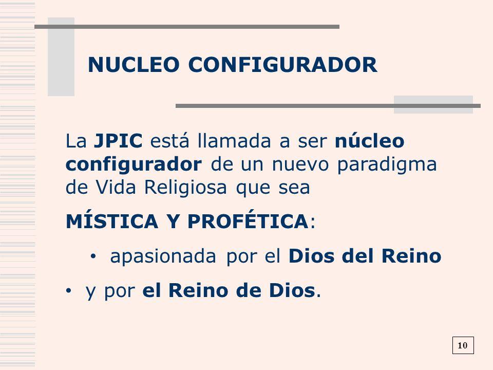NUCLEO CONFIGURADOR La JPIC está llamada a ser núcleo configurador de un nuevo paradigma de Vida Religiosa que sea MÍSTICA Y PROFÉTICA: apasionada por