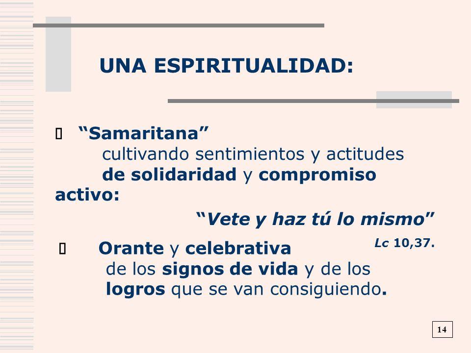 UNA ESPIRITUALIDAD: Samaritana cultivando sentimientos y actitudes de solidaridad y compromiso activo: Vete y haz tú lo mismo Lc 10,37. Orante y celeb
