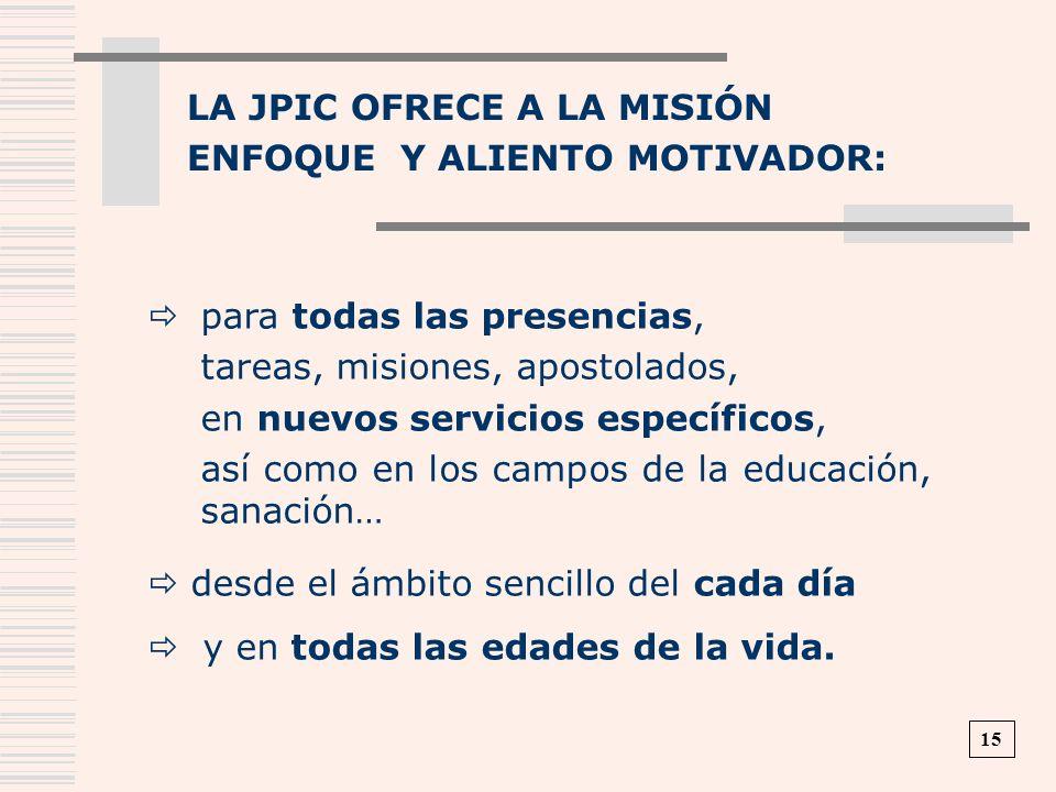 LA JPIC OFRECE A LA MISIÓN ENFOQUE Y ALIENTO MOTIVADOR: 15 para todas las presencias, tareas, misiones, apostolados, en nuevos servicios específicos,