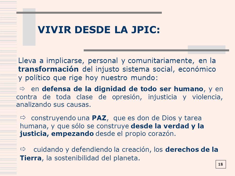 VIVIR DESDE LA JPIC: Lleva a implicarse, personal y comunitariamente, en la transformación del injusto sistema social, económico y político que rige h