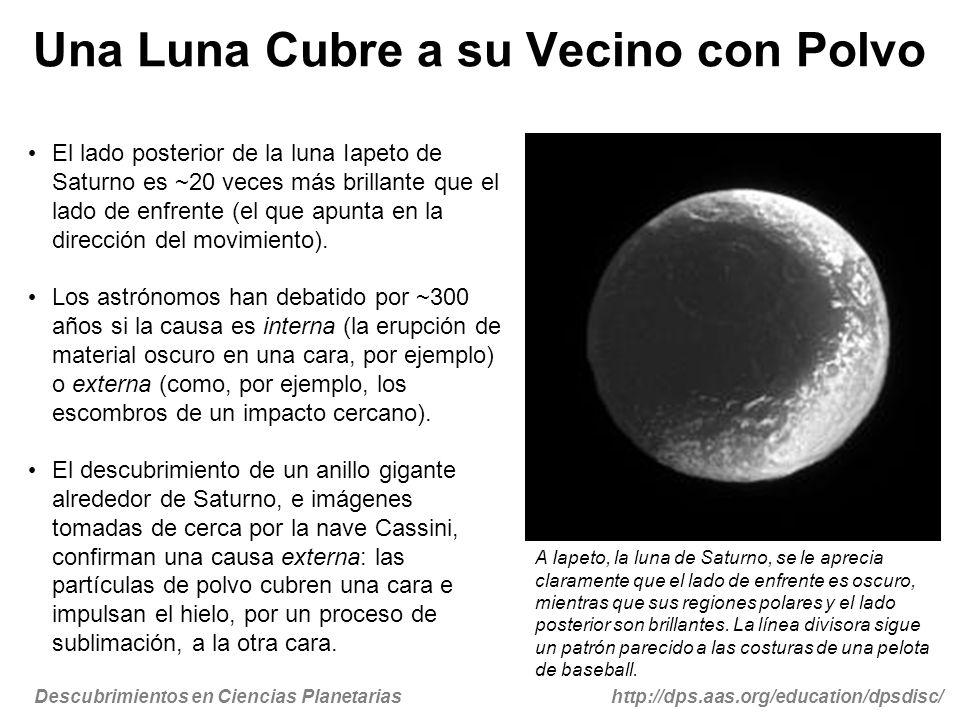 Descubrimientos en Ciencias Planetariashttp://dps.aas.org/education/dpsdisc/ Los meteoros regularmente golpean las lunas distantes y oscuras de Saturno (como Febe), formando así un anillo de partículas oscuras que orbitan al planeta en dirección opuesta a las otras lunas.
