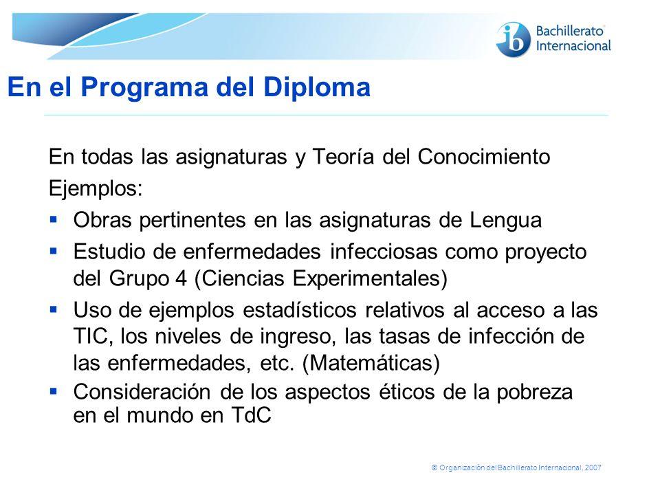© Organización del Bachillerato Internacional, 2007 En todas las asignaturas y Teoría del Conocimiento Ejemplos: Obras pertinentes en las asignaturas